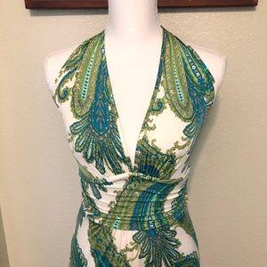 Renee C. Open Back Halter Maxi Dress